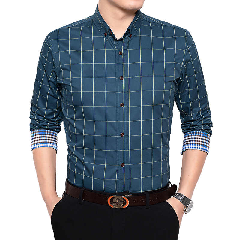 男性長袖シャツ高 qiality ビジネス綿 100% のファッション男服チェック柄ルーズスタイルのカジュアルシャツ社会プラスサイズ