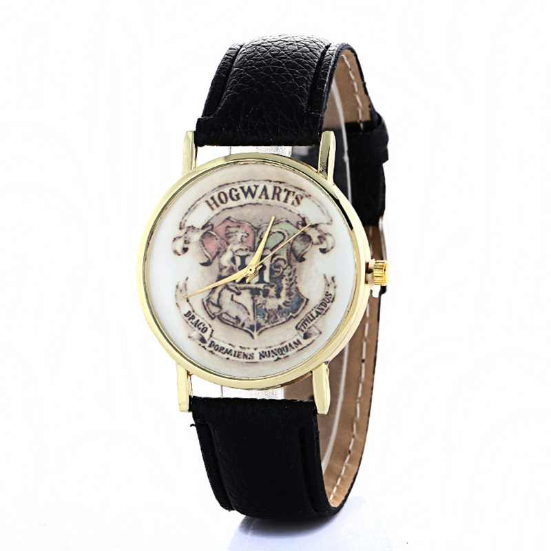 2017 New Hogwarts School Design Magic School Watch,Magic Pattern Badges Leather Watch Unisex Watch relogio masculino new pattern hogg watts magic school school badge quartz pocket watch senior high school student harry potter gift table ds281