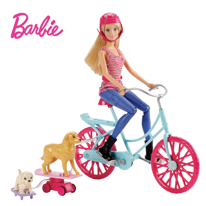 Original Barbies Bicycle Kit Dog Riding Dolls Girls Toys for Children of Doll Brinquedos for Birthday