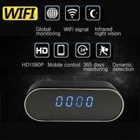 HD WIFI Mini Camera Clock Night Vision Clock Alarm P2P Livecam IR Smart Camcorder Wifi Remote