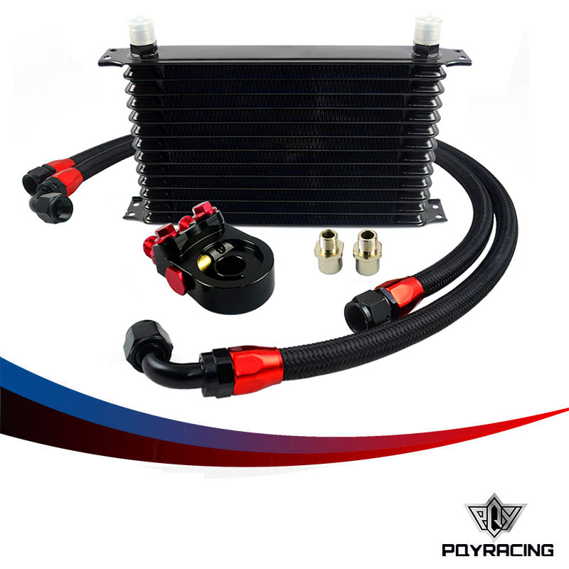 PQY - Universal 13 ROWS Trust type OIL COOLER KIT +AN10 Oil Sandwich Plate Adapter with Thermostat+2PCS NYLON BRAIDED HOSE LINE