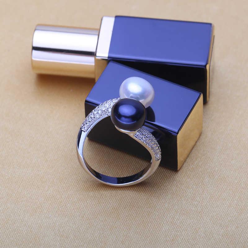 WATTENSใหม่เครื่องประดับมุก,ธรรมชาติน้ำจืดคู่แหวนมุก,จัดงานแต่งงาน925แหวนเงินสำหรับผู้หญิง,เครื่องประดับหมั้นสำหรับความรัก