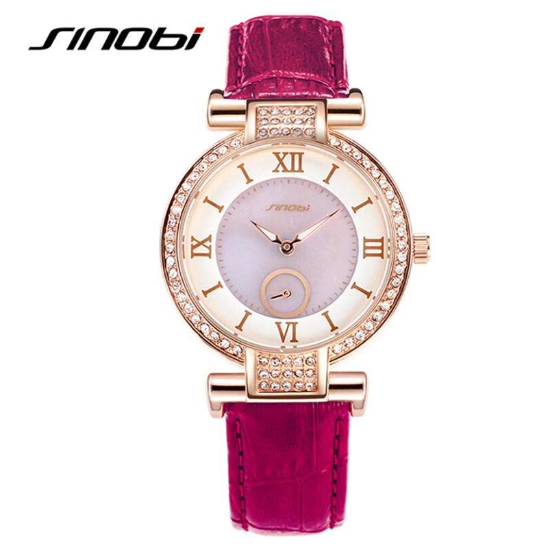 SINOBI Luxury Brand Designer Ladies Watch Women Fashion Rose Gold Leather Band Crystal Diamond Quartz-watch Relogio Feminino