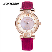 SINOBI Luxury Brand Designer Ladies Watch Women Fashion Rose Gold Leather Band Crystal Diamond Quartz-watch Relogio Feminino