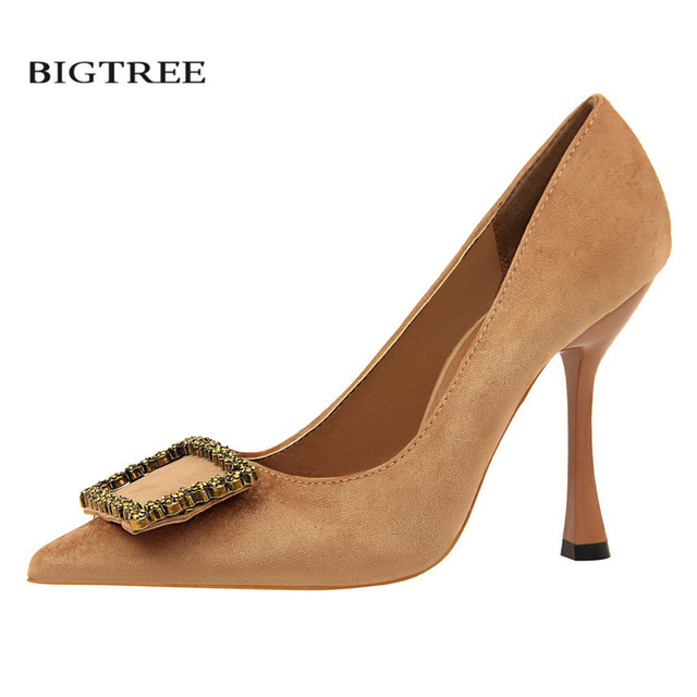 e88168864177d BIGTREE Spring Women Elegant Pumps Thin Heel Pointed European Fashion High  Shoes Female Crystal Buckle High-heeled Shoes G3212-2