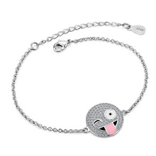 Huitan Fashion Emoji Bracelets For Women Funny Charm Micro Paved With Rope Chain Trendy Jewelry Hot Selling