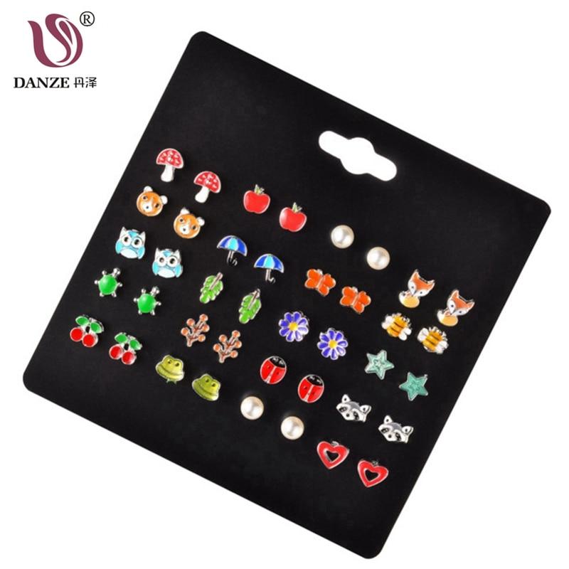 DANZE 20 Pairs/lot Cute Fruit Animal Stud Earrings Set For