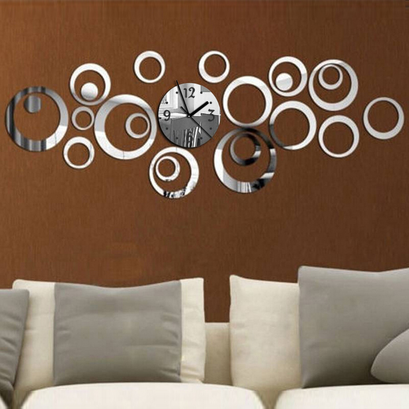New Quartz Wall Clock Diy Acrylic Mirror 3d Stickers Needle Living Room Modern Watch Reloj De Pared Horloge Free Shipping