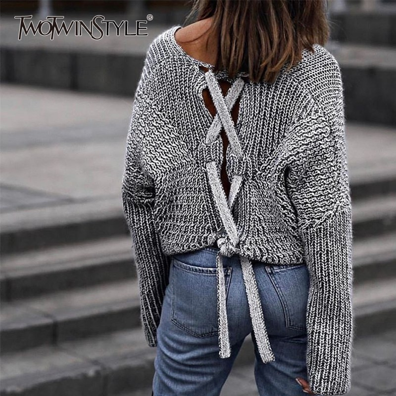 TWOTWINSTYLE Backless Lace up Pullover Sweater for Women Long Sleeve Knitting Tops Jumpers Casual Clothes Korean