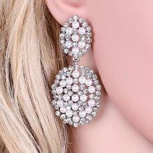 Элегантные серьги капли с имитацией жемчуга модные круглые кристаллами