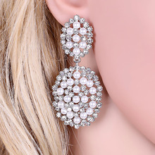 Elegant Imitation Pearl Drop Earrings Fashion Round Shape Crystal Earrings for Women Wedding Prom Party Accessory bohopan shell shape pendant earrings for women elegant imitation pearl drop earrings fashion classic female earrings in jewelry