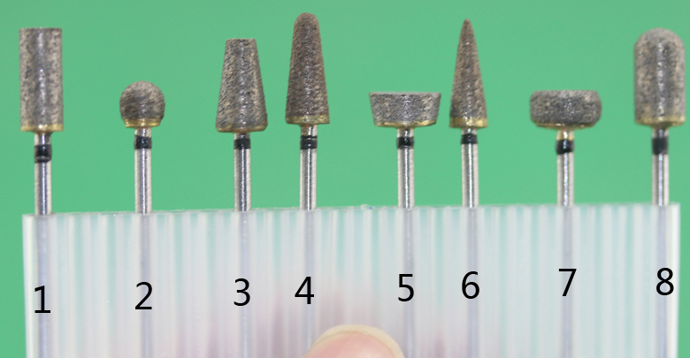Free Shipping 2.35mm Diameter Shank Sintered Diamond Grinding Burs 8pcs/set For Grinding Jade, Stone, Marble Glass