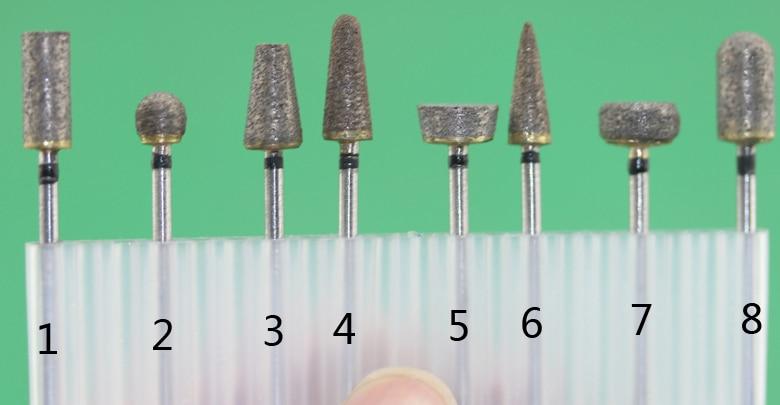 Free Shipping 2.35mm Diameter Shank Sintered Diamond Grinding Burs 8pcs/set For Grinding Jade, Stone, Marble Glass