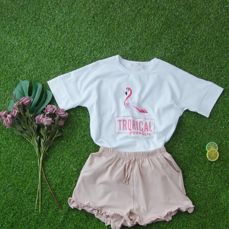Flamingo Women Cartoon Pajamas Short Sleeve Cotton Pyjamas Set Home Nightwear Sleepsuit