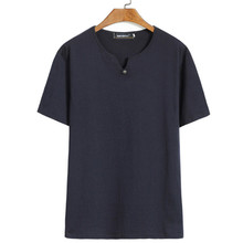 Manche Courte Men Cotton Shirts Plus Size 6Xl Fashion Tops And Tees Men Casual V-Neck Loose T-Shirt Men Solid Man T Shirt A3342