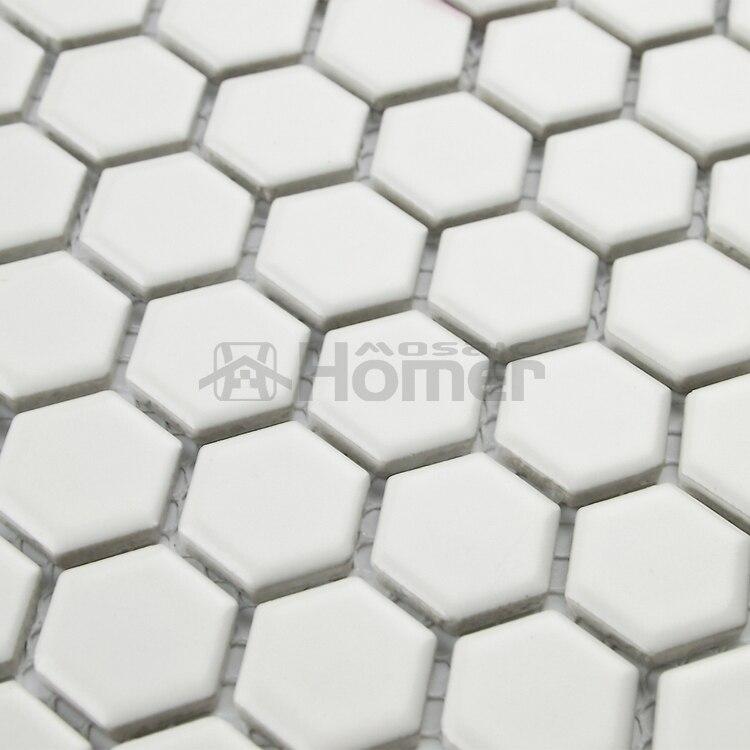 12x12 Hexagon Matt White Ceramic Mosaic Tiles Kitchen Wall Mosaic