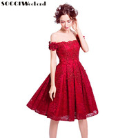 SOCCI Weekend New Red Lace Flower Short Prom Dress The Bride Married Banquet Embroidery Boat Neck Knee length Formal Party Gowns