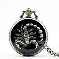 PB027 Высокое Качество Япония Движение Скорпион Карманные Часы С Цепи Ожерелье Кулон Античный Стимпанк Большой Размер