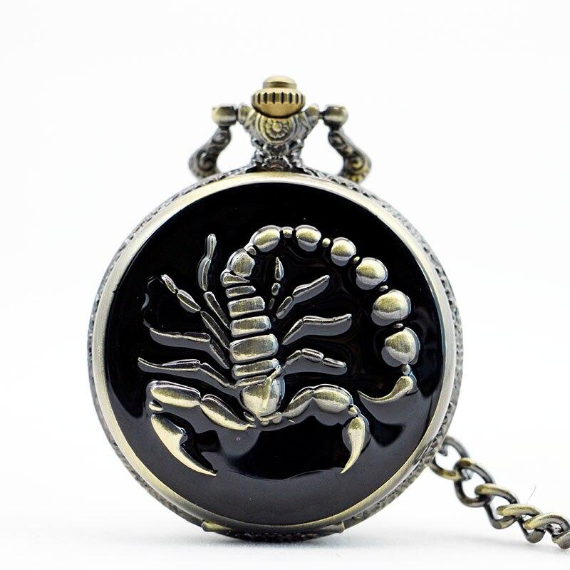 все цены на PB027 High Quality Japan Movement Scorpion Pocket Watch With Chain Necklace Pendant Antique Steampunk Big Size онлайн