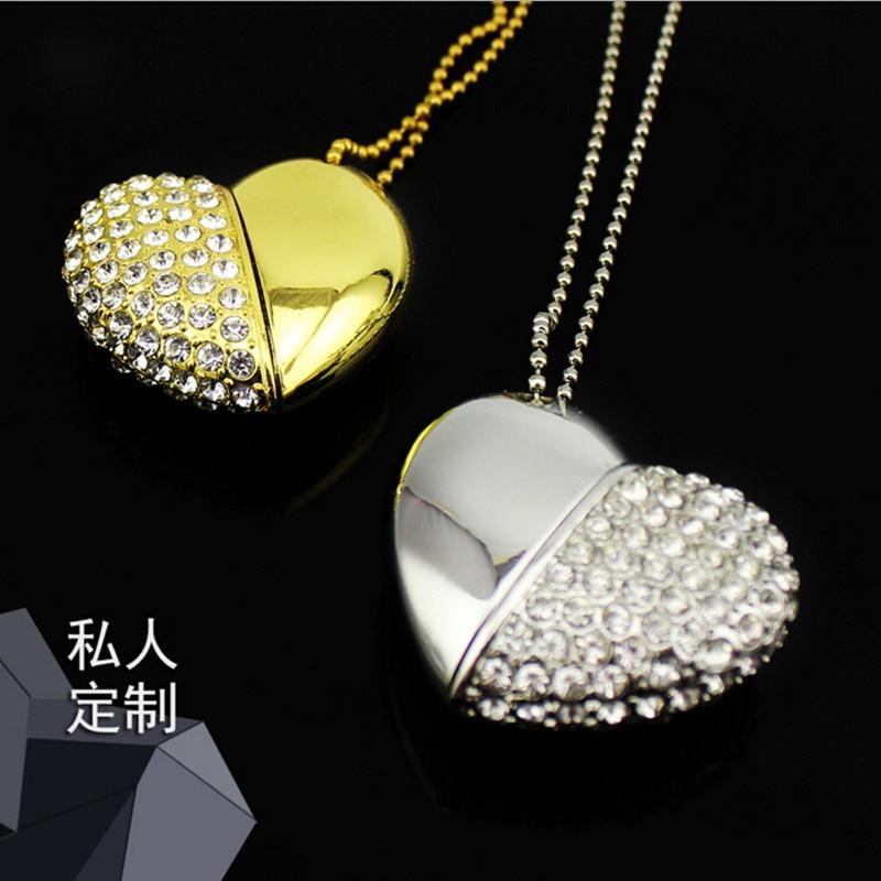 Fun 16 GB USB Flash Drives Mini Diamond Crystal Heart shaped USB Disk Memory Stick girls gifts USB Digital with Key Chain Hole