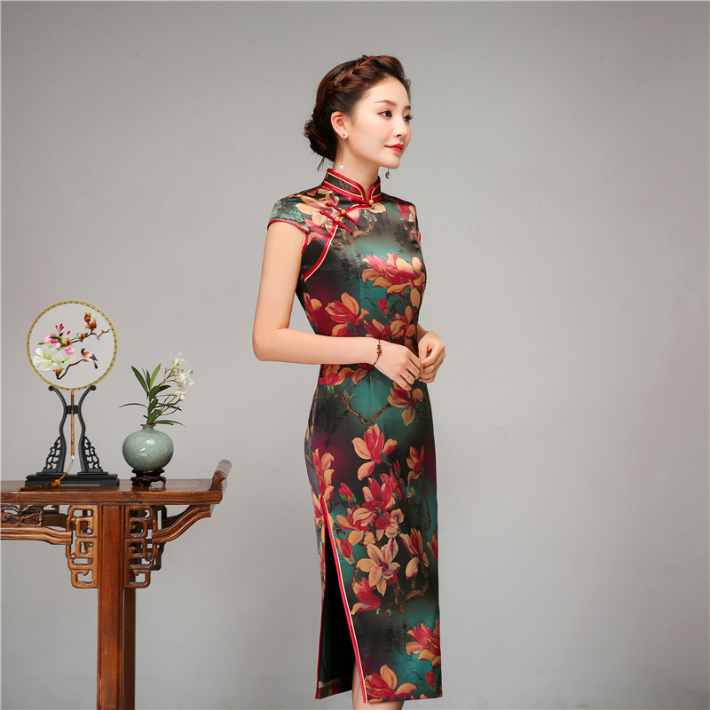 Royal Women Casual Daily Dress Chinese Style Print Flower Qipao 100% Silk Long Cheongsam Vintage Evening Party Dressing Gown - 4