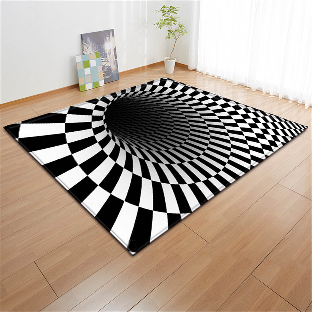 3D Geometric Swirl Carpets White Black Area Rug Soft Flannel Children Room Personality Decoration Mats Rugs Living Room Carpets