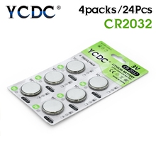 24Pcs YCDC 3V CR 2032 Lithium Button Coin Cells Batteries CR2032 DL2032 KCR2032 5004LC Battery For Pointer Watch