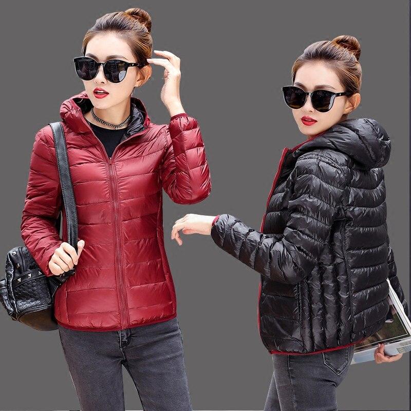 Winter Women Outerwear 2018 New Down Jacket Women Hooded Short Down Jacket Large Size Two-Sided Wear Thin Ladies Parkas Cw546
