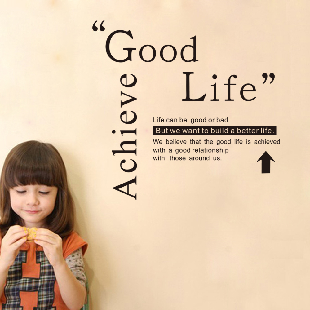 9246 Achieve Good Life Room Decals Bedroom Kids Room Stickers DIY Home  Decorations Quote Wall Decals Free Shipping In Wall Stickers From Home U0026  Garden On ...