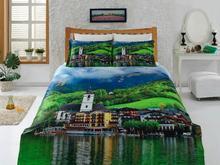 Комплект постельного белья двуспальный-евро VIRGINIA SECRET, Bamboo, город, зеленый, 3D