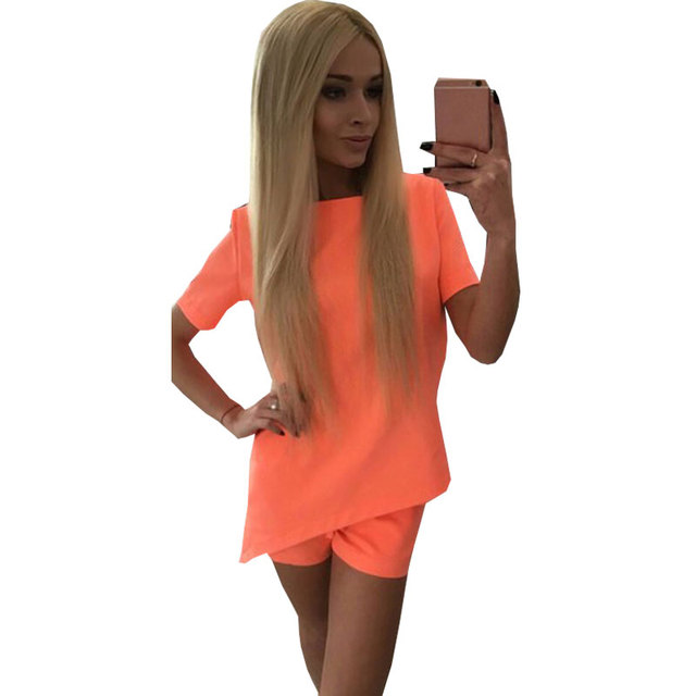 2 Шт. костюм 2016 Новый Летний Женщин Спортивный Костюм Случайные Рубашка + короткие Брюки 2 Шт. набор Женская Мода Костюмы Sexy Комбинезон Комбинезоны
