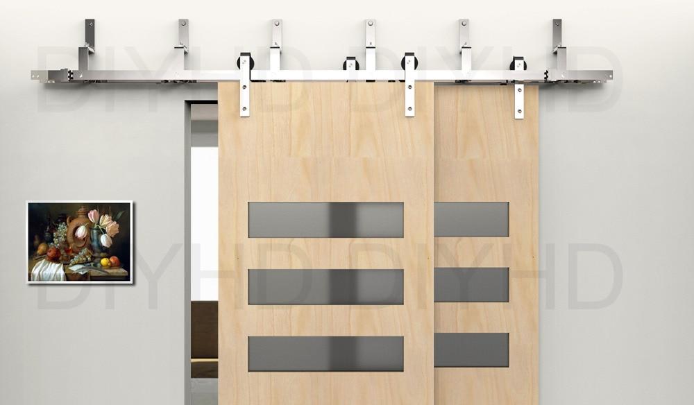 5/6ft Bypass Sliding Barn Wood Door Hardware Stainless Steel Bypass Track  Kit
