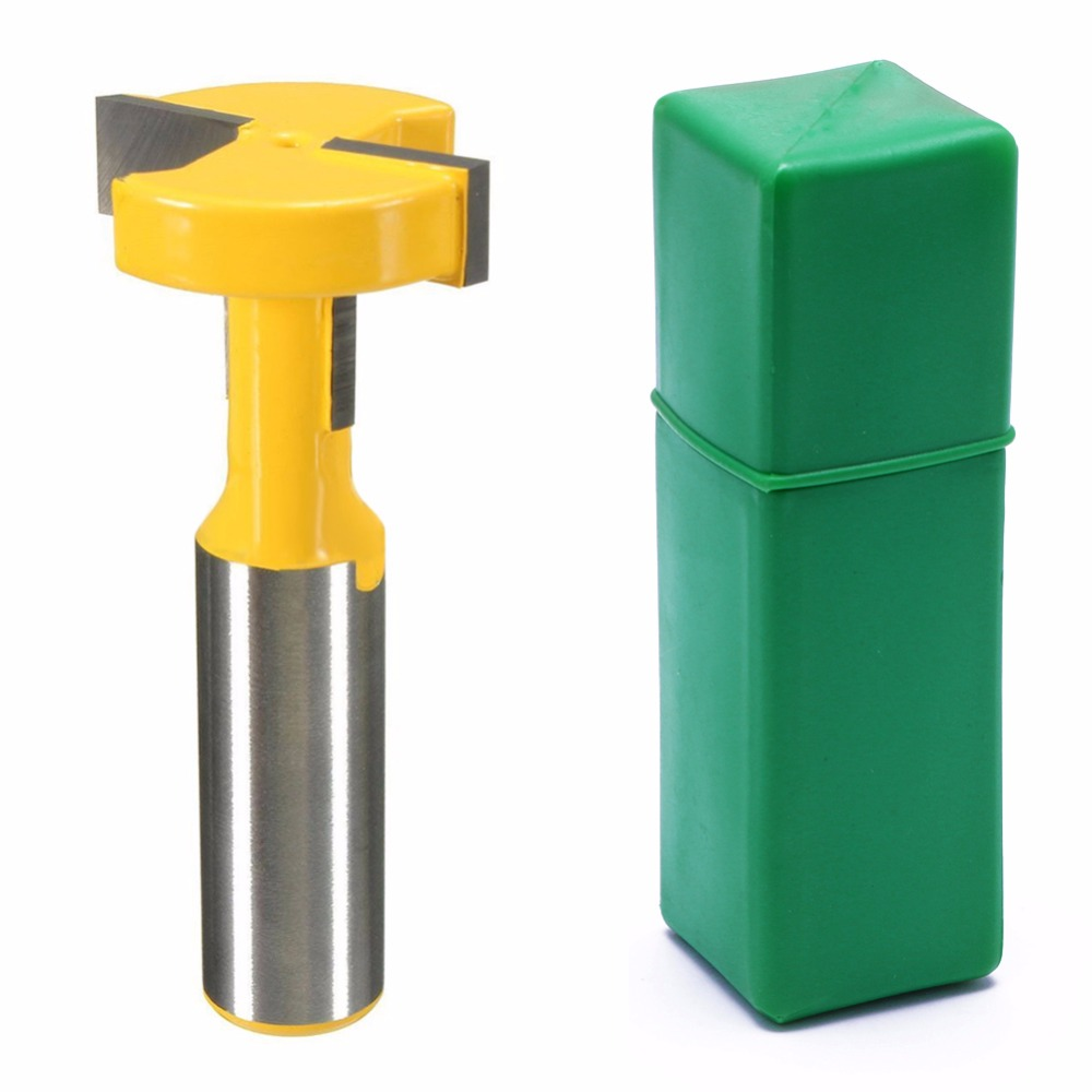 OOTDTY 1/2 Shank T-Track & T-Slot Slotting Router Bit for Woodworking Chisel Cutter high grade carbide alloy 1 2 shank 2 1 4 dia bottom cleaning router bit woodworking milling cutter for mdf wood 55mm mayitr