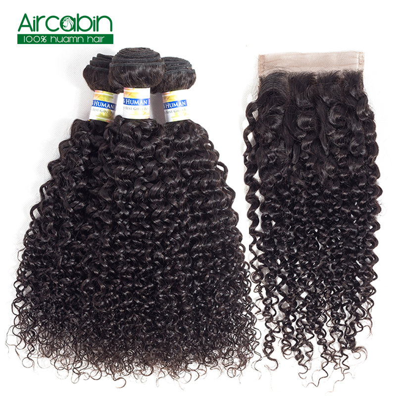 Brazilian 3 Bundles Human Hair with Closure Kinky Curly Bundles with Closure Bleached Knots Natural Hairline Natural Black