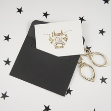 multi-use 25pcs Mini thank you Card gold with black envelope Scrapbooking party invitation cards greeting cards business card original cheap 86203 premium black monochrome ribbon use with dtc550 card printers k 3 000 prints