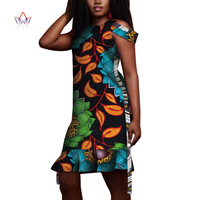 2019 Fashion African Print Dress For Women Bazin Riche Patchwork Dress Dashiki 100% Cotton African Traditional Clothing 4391