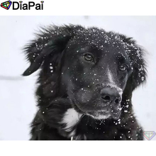 DIAPAI Diamond Painting Animal dog snow Cross Stitch Custom Photo Embroidery Square Round Drill Home Decor A25353