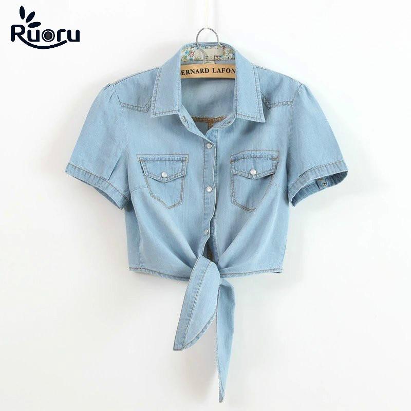 Ruoru Kimono Crop Top Plus Size Summer Women Girls Short Denim Shirts Tie Up Jeans Blouse Students Coats Denim Women Shirts Cute