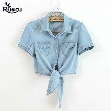 Ruoru Kimono Crop Top Plus Size Summer Women Girls Short Denim Shirts Tie Up Jeans Blouse Students Coats Cute