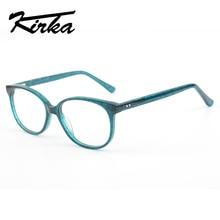 Kirka Acetate Myopia Glasses Women Eyeglass Frames Green Vintage Clear Lens Frame For Optical Eyeglasses