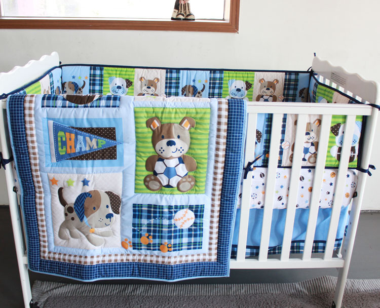 New 7 Pcs Baby Bedding Set Crib Bed Set Cartoon Little Dog Baby Crib Set Quilt Bumper Sheet Skirt Bedding Sets Baby Bedding