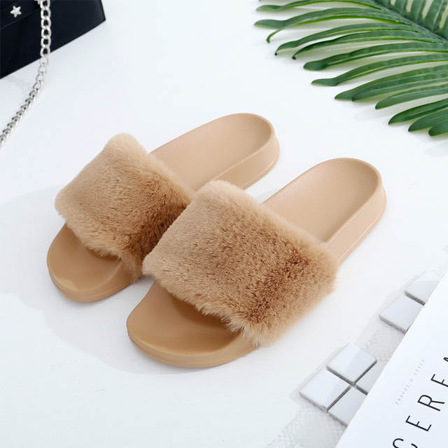 COOLSA Women s Flat Solid Furry Slippers Faux Fur Slippers Non-slip Plush  Fashion Slippers Fluffy 48d849e84a41