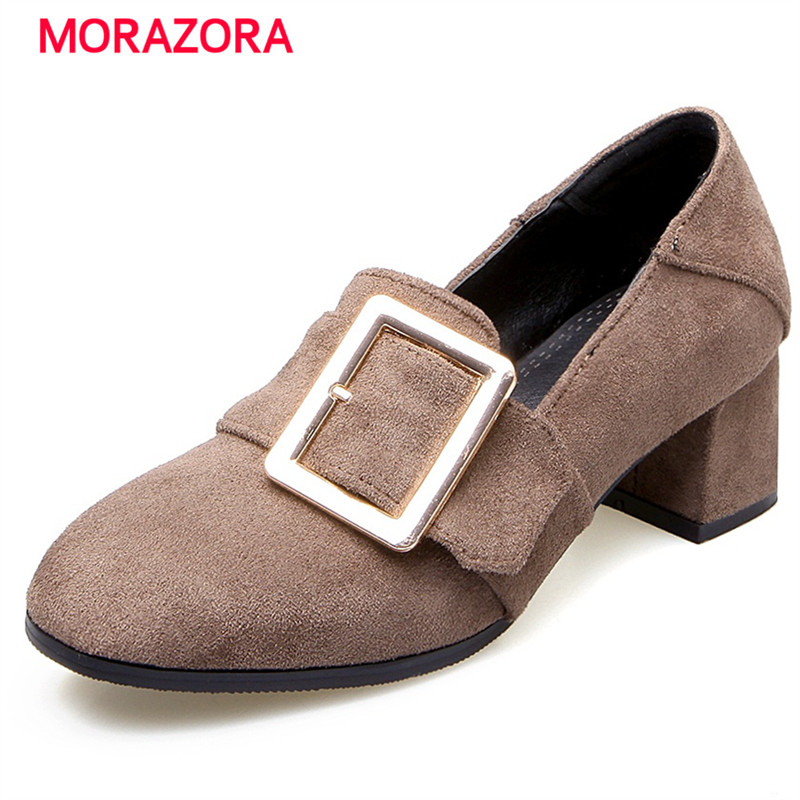 MORAZORA Med heel square shoes woman pumps flock work shoes big size 34-48 solid popular contracted four seasons shoes newest solid flock high heel pumps woman