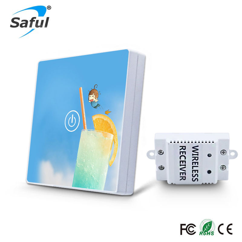 Wireless 1 Gang 1 Way Wireless Touch Switch Blue Sky Crystal Glass Switch DIY Picture Remote Contral For Smart H smart home eu touch switch wireless remote control wall touch switch 3 gang 1 way white crystal glass panel waterproof power
