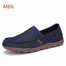 Spring Summer Men Jeans Canvas Shoes Breathable Casual Shoes Loafers Comfortable Ultralight Lazy Slip on Shoes Big Size 39-48