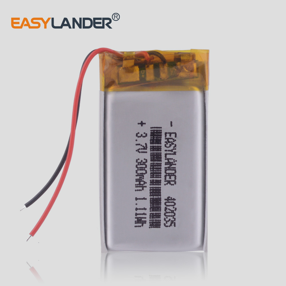 <font><b>402035</b></font> <font><b>3.7V</b></font> 300mAh Lithium Polymer li ion Rechargeable <font><b>Battery</b></font> cells For Mp3 MP4 MP5 GPS mobile dash cam Smart Watch SmartBand image