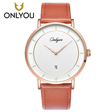 ONLYOU Fashion Male Wristwatch Leather Watchband Business Watches Waterproof Scratch-resistant Men Watch Clock Women Luminous