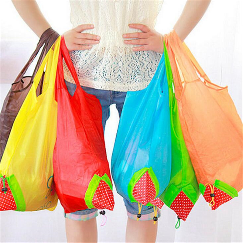 Eco Storage Handbag Strawberry Foldable Shopping Bags Reusable Folding Grocery Nylon Bag Large Capacity Home Tote Pouch new style cartoon fruit lemon eco bag useful nylon foldable reusable shopping bags