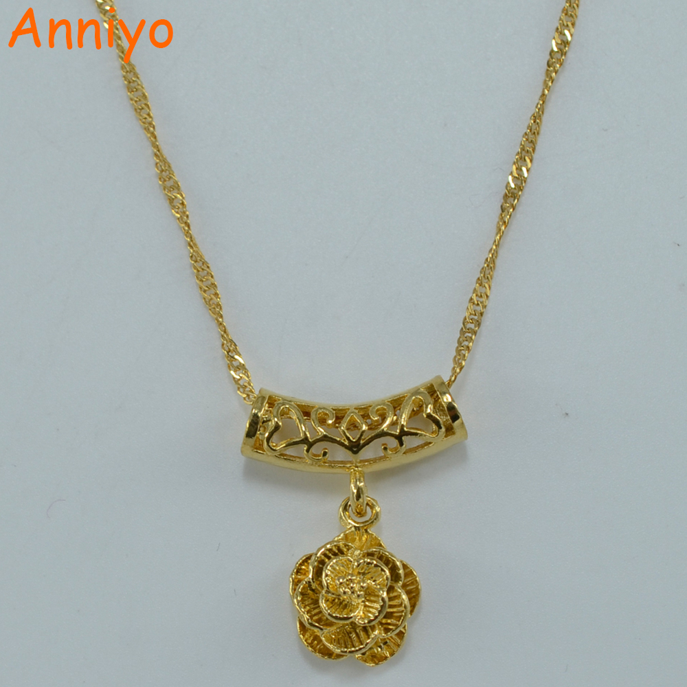 Anniyo Plant Necklace Pendant for Women s Gold Color Flower Necklace font b Jewelry b font