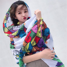 LEAYH Brand Summer Pineapple Print 180*90cm Beach Cotton Scarf Shawls Women Cover Up Wrap Sunscreen Long Cape Scarves Female